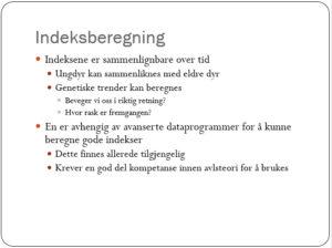 Avlsarbeid - fra Ødegårds foredrag (se hele nederst)