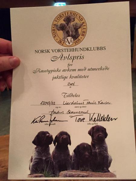 Avlspris 2014 Diplom Lierdalens Tante Karin