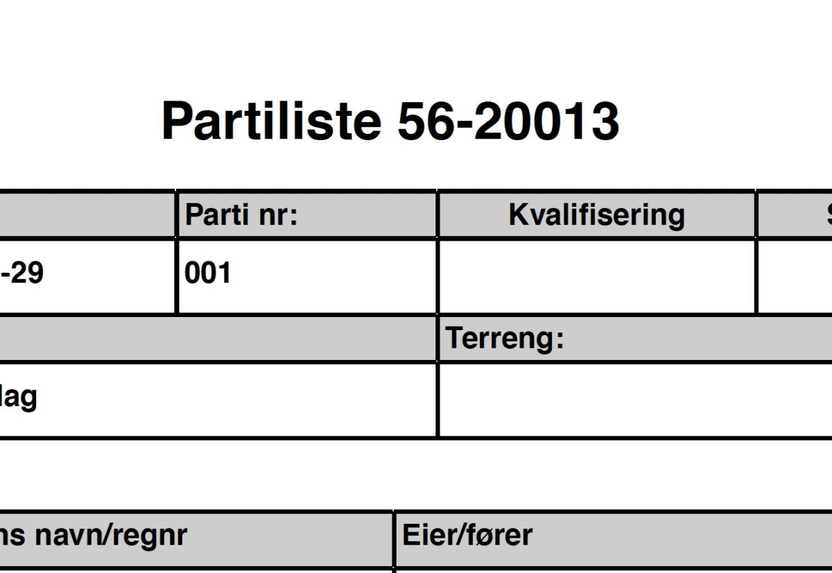 Partilister skogsfuglprøve og fullkombinert skog